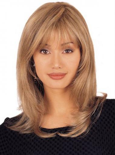 """Lace Front 16"""" Täydellinen Vaalea Remy-Hiusta Puolipitkät Peruukki"""