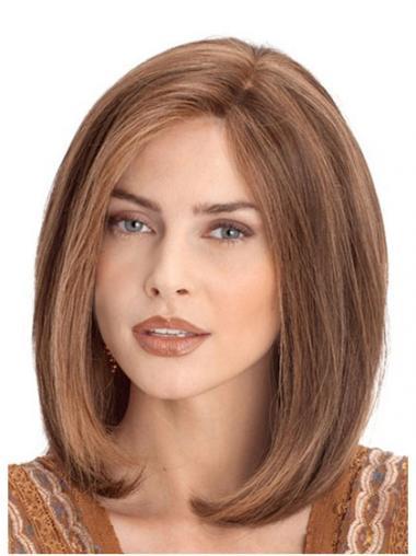 """Lace Front 12"""" Suunniteltu Kullanruskea Remy-Hiusta Puolipitkät Peruukki"""