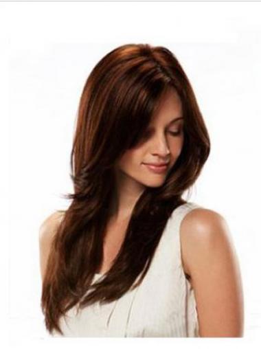 """20"""" Vaivattoman Kullanruskea Remy-Hiusta Pitkät Suora Full Lace Peruukit"""