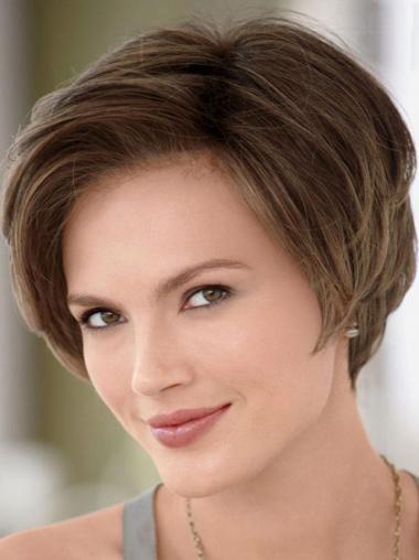 """Ruskea Täydellinen Remy-Hiusta Lyhyet Suora 8"""" Lace Peruukki"""