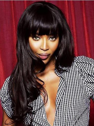 """Lace Front 20"""" Hämmästyttävä Intian Remy-Hiusta Laineikas Musta Naomi Campbell Peruukit"""
