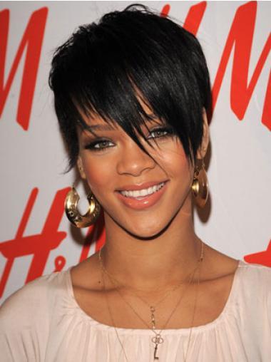 "Intian Remy-Hiusta 4"" Musta Muoti Leukapituinen Suora Rihanna Peruukit"
