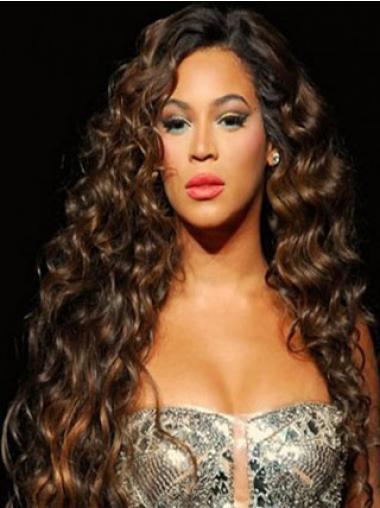 """Täydellinen 26"""" Kullanruskea Ilman Otsatukkaa Konetyötä Kiharat Beyonce Peruukit"""