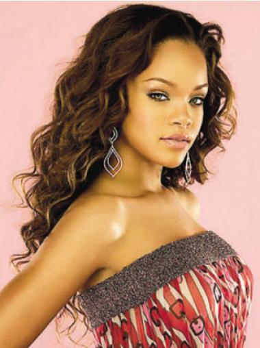 """22"""" Kullanruskea Intian Remy-Hiusta Kiharat Lace Front Suosittu Rihanna Peruukit"""