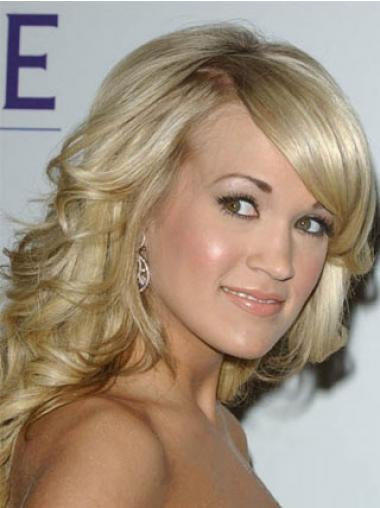 """Otsatukka Laineikas 14"""" Synteettistä Vaalea Konetyötä Carrie Underwood Peruukit"""