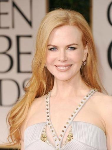 """24"""" Vaalea Synteettistä Lace Front Ilman Otsatukkaa Pitkät Halvin Nicole Kidman Peruukit"""