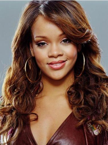 """18"""" Kullanruskea Synteettistä Kiharat Konetyötä Luonnollinen Rihanna Peruukit"""