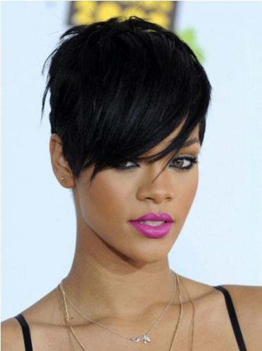 """Synteettistä 6"""" Musta Edullinen Leukapituinen Suora Rihanna Peruukit"""