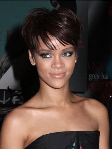 """Synteettistä 6"""" Kullanruskea Hämmästyttävä Leukapituinen Suora Rihanna Peruukit"""