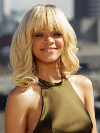 """14"""" Vaalea Synteettistä Kiharat Konetyötä Halpa Rihanna Peruukit"""