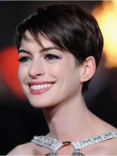 """4"""" Pehmeä Remy-Hiusta Lace Front Leukapituinen Anne Hathaway Peruukit"""