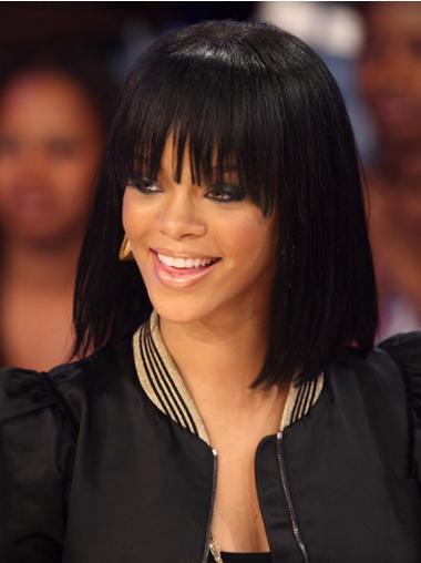 """Intian Remy-Hiusta 12"""" Musta Kaunis Olkapäille Ylettyvät Suora Rihanna Peruukit"""
