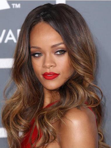 """24"""" Ruskea Synteettistä Laineikas Lace Front Joustavuus Rihanna Peruukit"""
