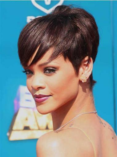 """Synteettistä 5"""" Kullanruskea Satumainen Leukapituinen Suora Rihanna Peruukit"""
