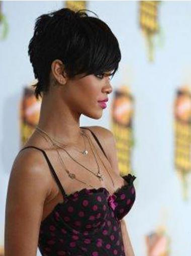 """Intian Remy-Hiusta 5"""" Musta Korkealaatuinen Leukapituinen Suora Rihanna Peruukit"""