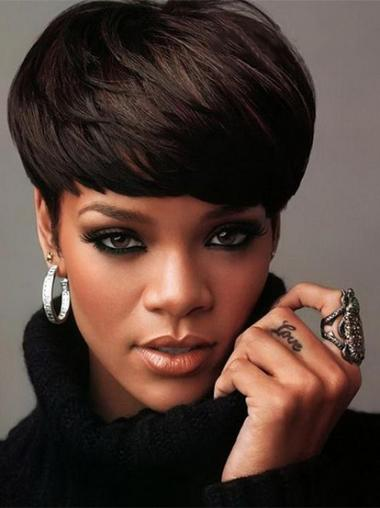 "Intian Remy-Hiusta 5"" Musta Moderni Leukapituinen Suora Rihanna Peruukit"
