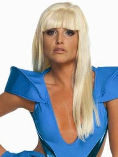 """Suunniteltu Vaalea Suora 22"""" Pitkät Lady Gaga Peruukit"""
