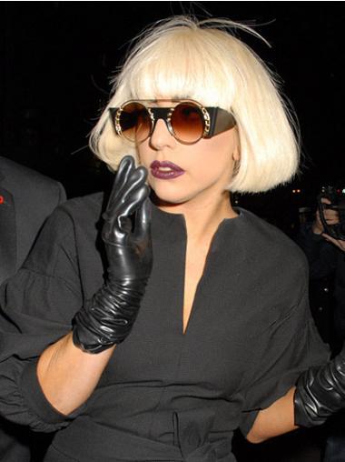 """Satumainen Vaalea Suora 10"""" Leukapituinen Lady Gaga Peruukit"""