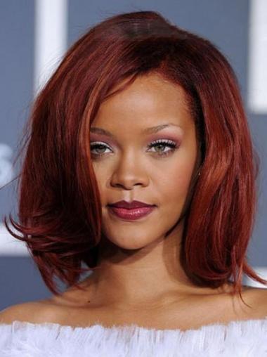 """12"""" Punainen Synteettistä Suora Konetyötä Netistä Rihanna Peruukit"""