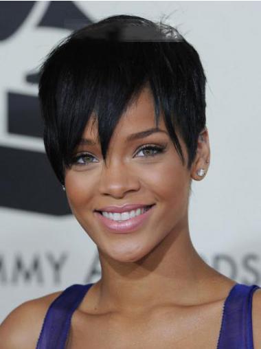 """Synteettistä 5"""" Musta Parhaat Leukapituinen Suora Rihanna Peruukit"""