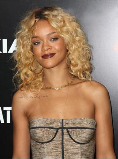 """14"""" Vaalea Intian Remy-Hiusta Kiharat Lace Front Tyylikäs Rihanna Peruukit"""
