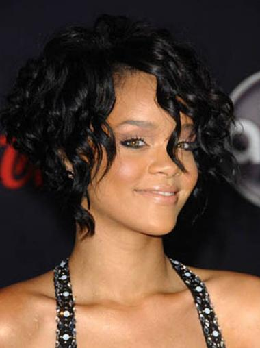 """12"""" Musta Intian Remy-Hiusta Suora Konetyötä Uusi Rihanna Peruukit"""