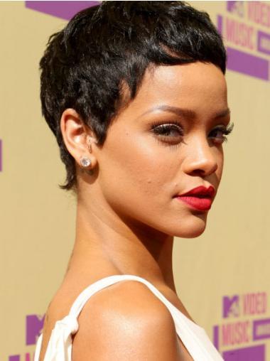 """Synteettistä 3"""" Musta Mukava Leukapituinen Suora Rihanna Peruukit"""