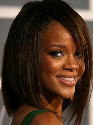"""Intian Remy-Hiusta 12"""" Ruskea Pehmeä Olkapäille Ylettyvät Suora Rihanna Peruukit"""