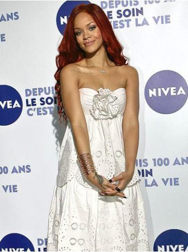 """22"""" Punainen Remy-Hiusta Laineikas Konetyötä Suuri Rihanna Peruukit"""