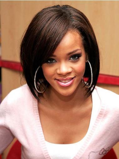 """Intian Remy-Hiusta 12"""" Ruskea Erinomainen Leukapituinen Suora Rihanna Peruukit"""