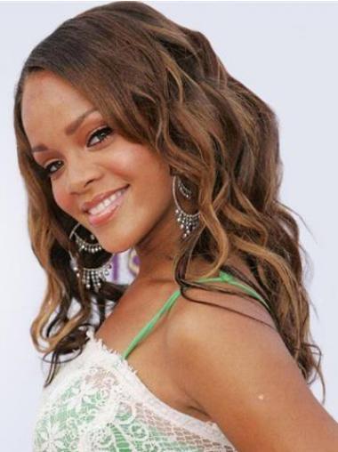 """18"""" Ruskea Brasilian Remy-Hiusta Laineikas Lace Front Täydellinen Rihanna Peruukit"""