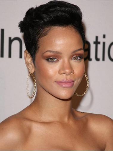 """Intian Remy-Hiusta 6"""" Musta Ihanteellinen Leukapituinen Suora Rihanna Peruukit"""