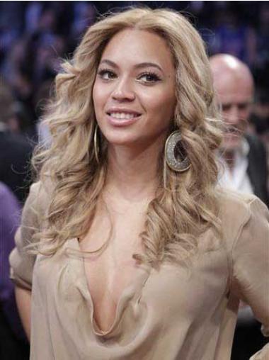 """Hämmästyttävä 16"""" Vaalea Ilman Otsatukkaa Konetyötä Laineikas Beyonce Peruukit"""
