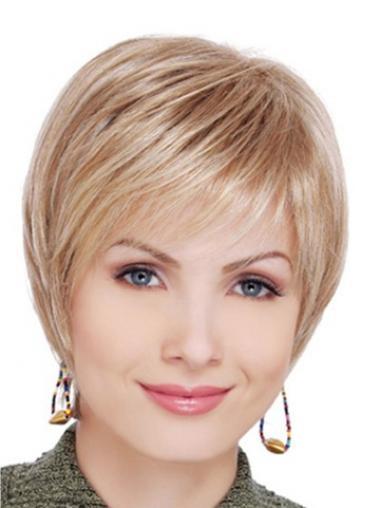 """Synteettistä 6"""" Vaalea Lyhyet Suora Täydellinen Lace Front Naisten Peruukit"""