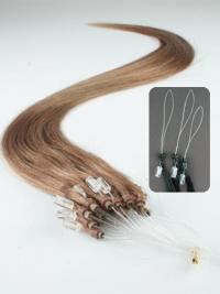Ruskea Suora Tyylikäs Remy-Hiusta Micro Loop Hiustenpidennykset