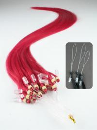 Punainen Suora Pehmeä Remy-Hiusta Micro Loop Hiustenpidennykset