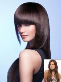 Remy-Hiusta Kullanruskea Luonnollinen Clip On Otsatukka